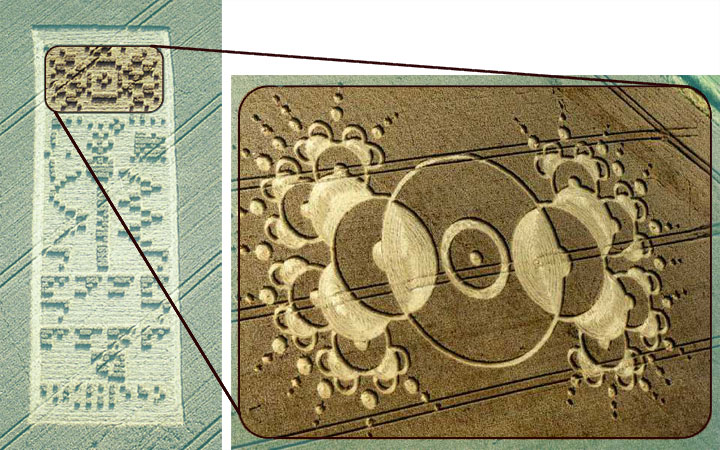 La parte superior de crop circle de la izquierda corresponde simbólicamente a otro crop circle que había aparecido un año antes en el mismo campo de Chilbolton, frente el radiotelescopio. / Photo: Lucy Pringle