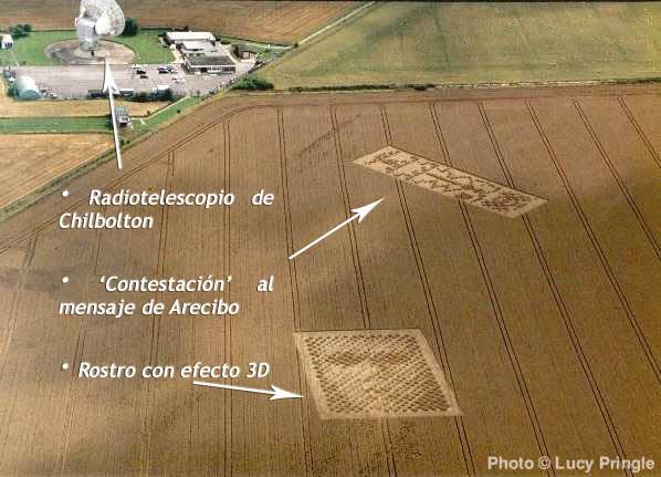 Aparición de dos Crop Circles cerca del radiotelescopio de Chilbolton (Reino Unido) uno de los cuales es una 'contestación' al famosos Mensaje de Arecibo realizado por Frank Drake y Carl Sagan entre otros.