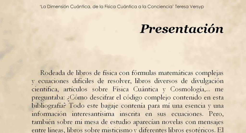 Presentación de 'La Dimensión Cuántica' de Teresa Versyp