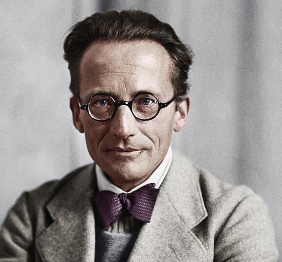 Retrato coloreado de Erwin Schrödinger